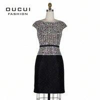 С короткими рукавами Louisvuigon женщина горный хрусталь халат de soiree серебряными блестками коктейльное платье OL102804