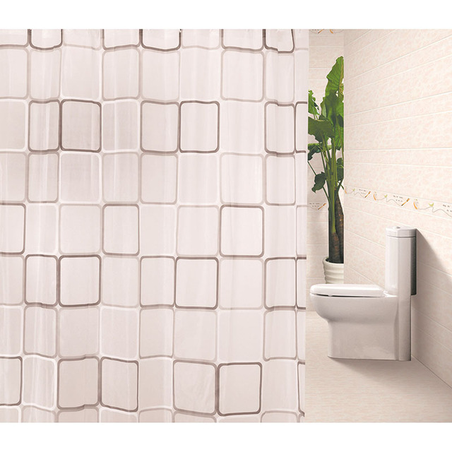 New Fashion Variety Size Shower Curtains White Grid Print Blinds ...