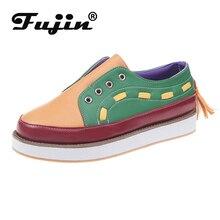 Fujin Women Flat Shoes Thick Bottom Women Low Top Fashion Shoes Dropshipping Slip on Lazy Shoes Causal Peadal Shoes Autumn Flats