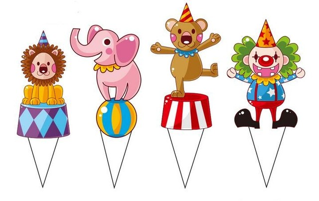 200pcs Circus Theme Party Supplies Cartoon Cupcake Topper Fix Color Kids Boy Birthday Cake Decorations