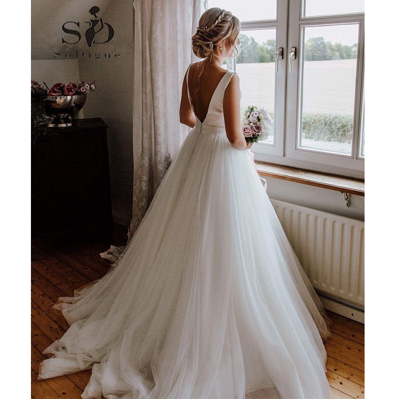 The Knot Wedding Gowns: SoDigne Wedding Dress New 2019 Bow Knot Design A Line
