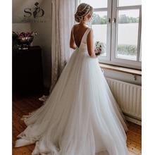 SoDigne düğün elbisesi Yeni 2019 ilmek Tasarım Bir Çizgi Backless Kolsuz Fermuar gelin kıyafeti Beyaz/Fildişi Kabul Özel yapılmış boyutu