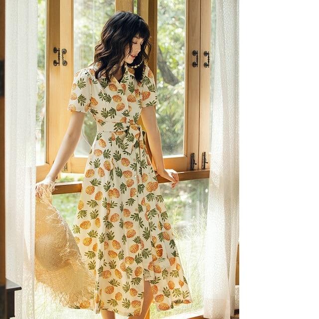 100%Cotton Dress 2019 Summer Style Women Turn-down Collar Tropical Fruits Print Short Sleeve Vintage Long Shirt Dress Female