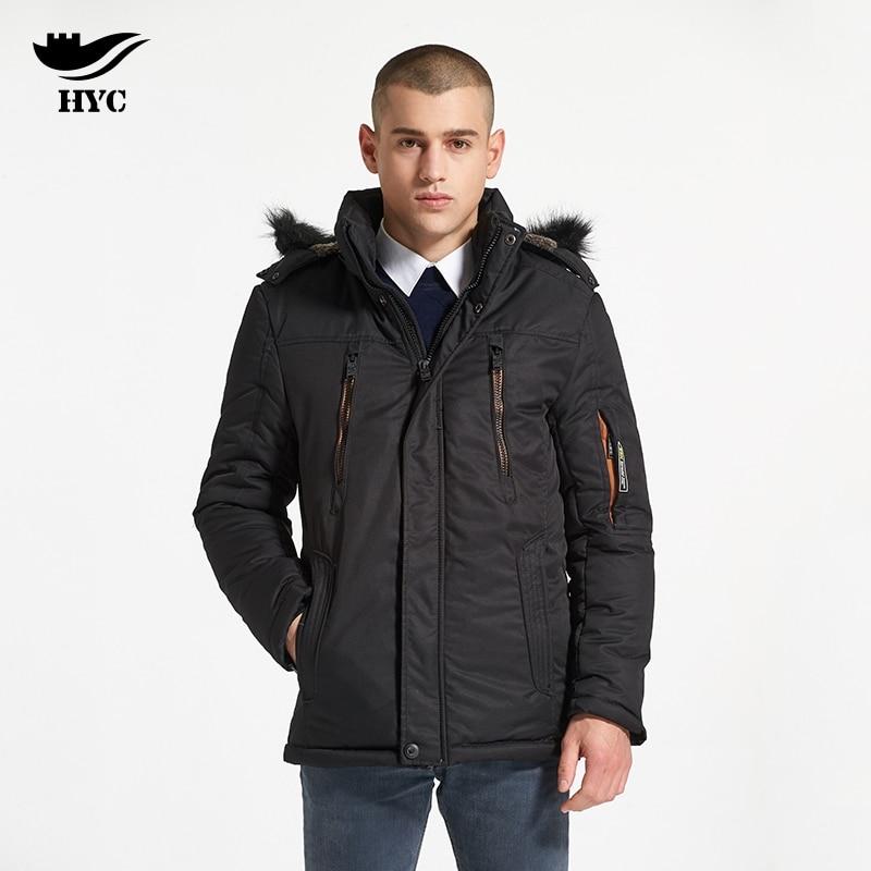 HAI YU CHENG Winter Coat Male Parka Men Snow Wear Trench Anorak Palace Windbreaker Army Jacket Winter Coats Fur Collar Padded