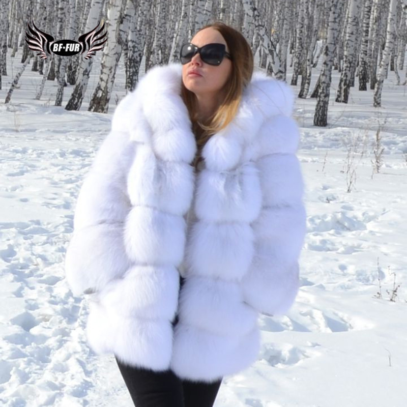 BFFUR Real piel de zorro invierno Palacio 2018 nuevo cuero genuino Chaquetas Mujer blanco ropa de moda para mujer Abrigos con capucha
