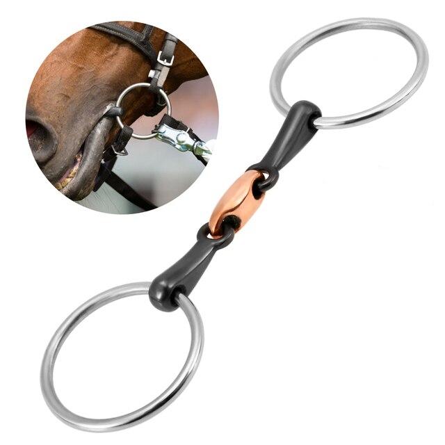 Cavalo de aço inoxidável boca bit pedaço da boca cavalo equestre snaffle cobre link bit cavalo corrida acessório