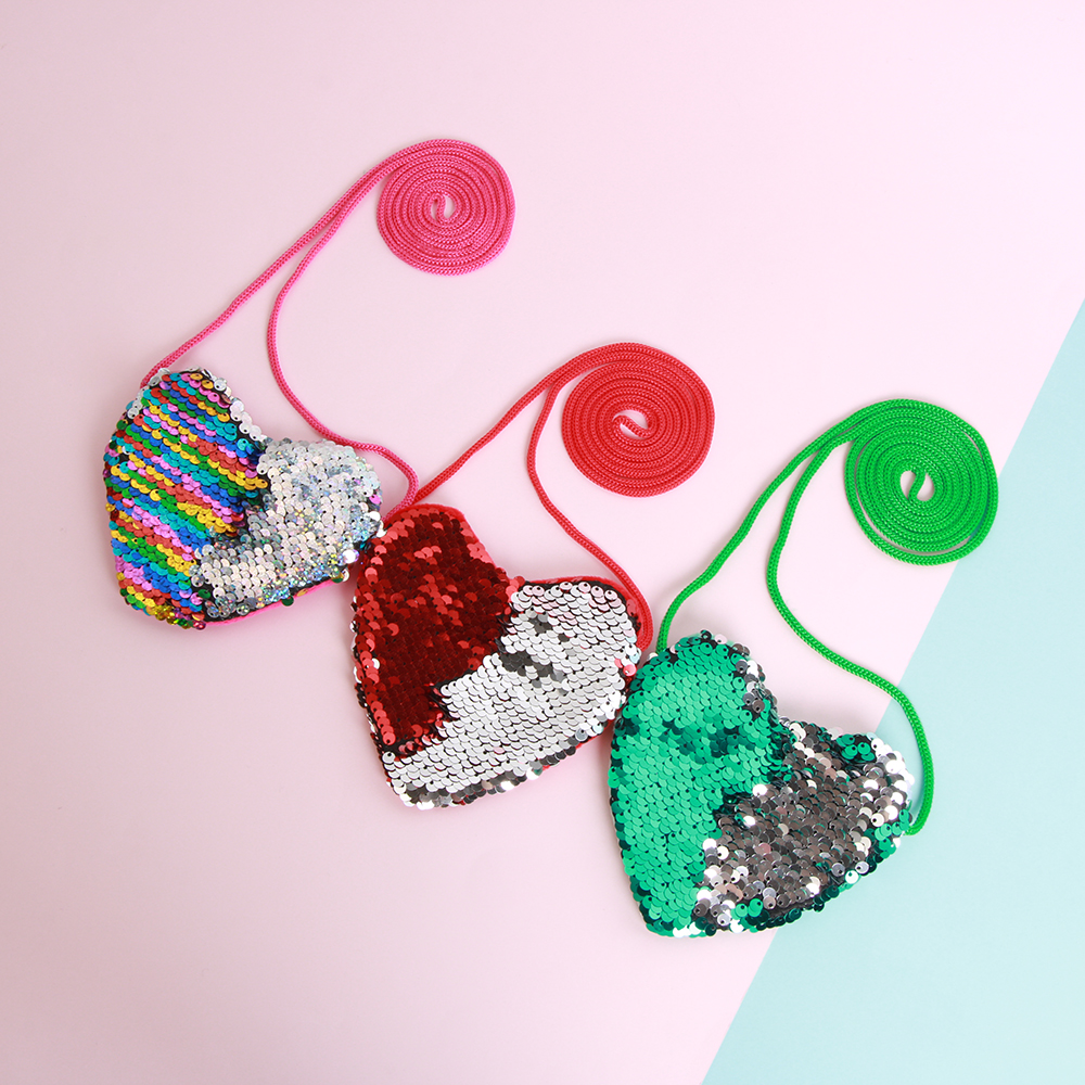 New Cute Sequins Loving Heart Kids Shoulder Bags Baby Girls Mini Messenger Bag Cartoon Boys Small Toys Children Gfits