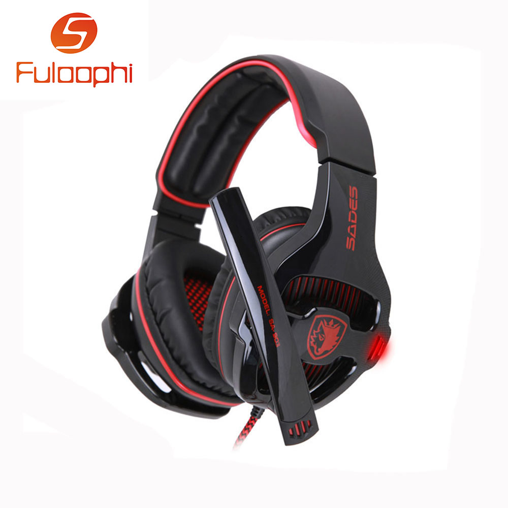 ФОТО Fuloophi SA-903 7.1 Surround Sound Channel USB Gaming Headset Wired Headphone with Mic Volume Control Noise Cancelling Mic