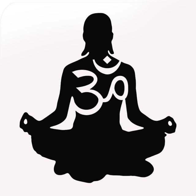 Factory Outlets 10 Colors Yoga Om Silhouette Figures Car Sticker For