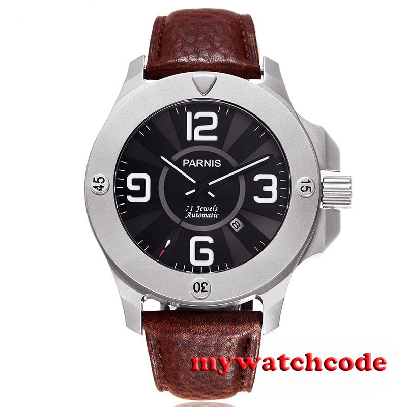 47mm Parnis black dial luminous Sapphire Glass miyato Automatic mens Watch P606 цена и фото