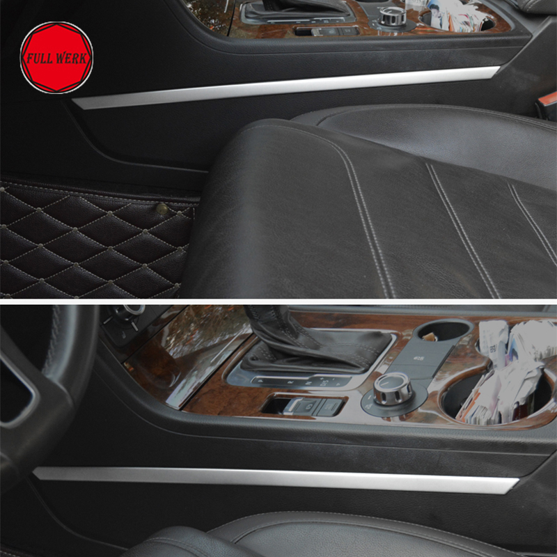 1 Pair Car Gear Shift Box Side Trim Strip Decoration Cover for VW Touareg 2011-2017 Interior Moulding SS Alu Styling Accessories