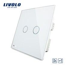 Livolo Smart Switch, белый кристалл Стекло Панель, AC 220-250 В VL-C302SR-61, стандарт Великобритании, 2 банды и дистанционный переключатель Главная настенные светильники