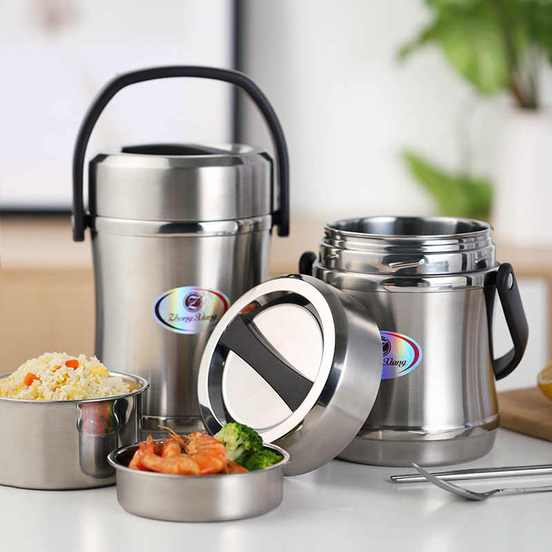 Thermos Food Jar Keep Food Warm Container Thermal Insulation Storage Lunch Box Stainless Steel Vacuum Flask Thermo Pot 2L 1.6L