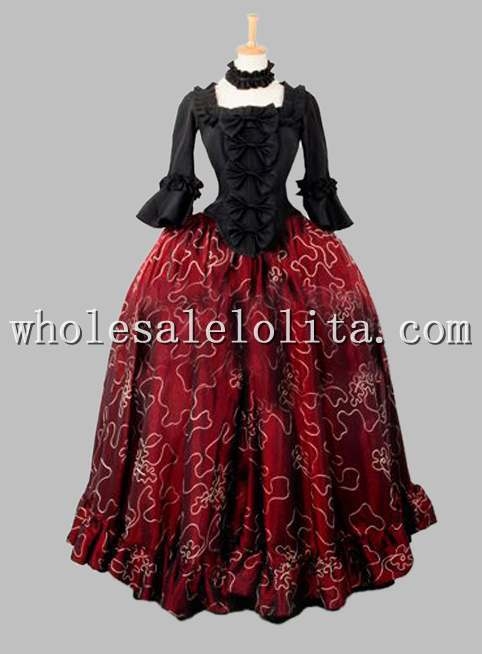 Two Piece Gothic Black And Wine Red Victorian Dress Mardi