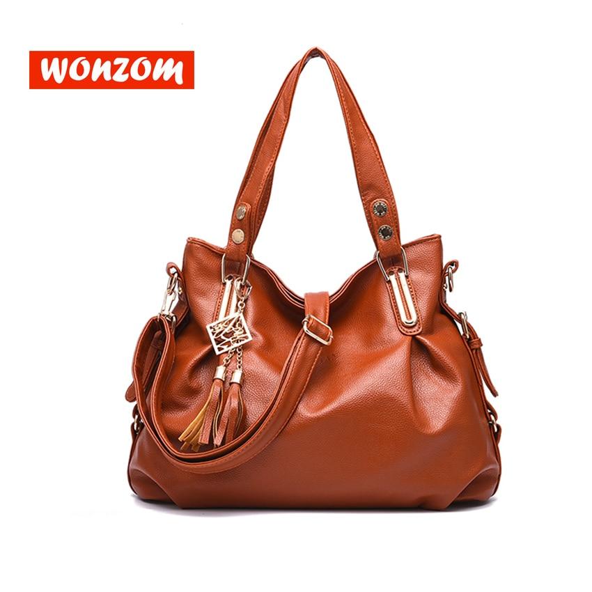 WONZOM 5 Color Tassel Leather Handbag For Windbreaker Brown Decor Tote Bags Large Shoulder Messenger Bags Women Girlfriend Gift