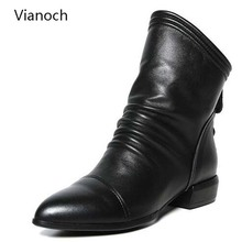Vianoch New Fashion Womens Ankle Boots Casual Flats Shoes Black Zip Up Autumn Spring Shoe Lady Size 40 41 42 wo1808101