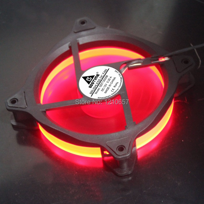 5PCS LOT Desktop Computer Case Silent Radiator Cooling Fan RED RGB LED Ring 120mm x 25mm new 3u ultra short computer case 380mm large panel big power supply ultra short 3u computer case server computer case