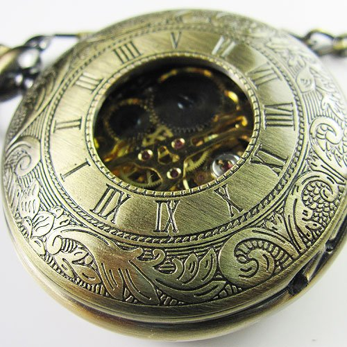 Top !!!Mens Antique Double Cover Hollow Mechanical Pocket Watch Brass Watch