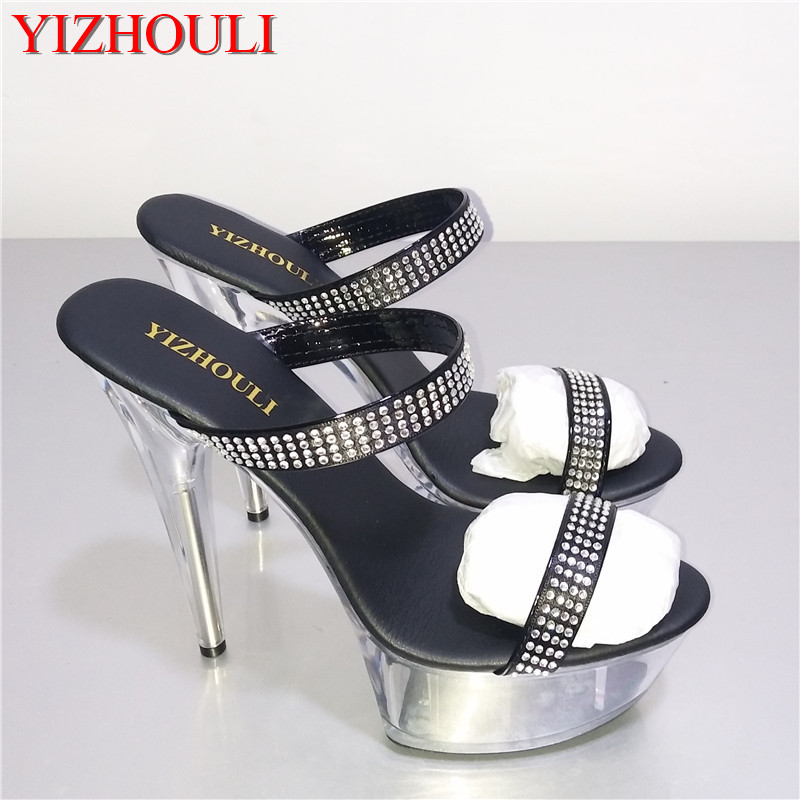 Women 6 Inch Stripper Shoes 15CM High Heeled Shoes Noble Elegant Platform Gladiator Rhinestone All Match