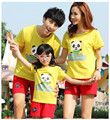 Matching Mother and Daughter Clothes Sport Suits Cotton Short Sleeve Yellow Tshirt+Red Pants Summer Family Look Set for Girls 11