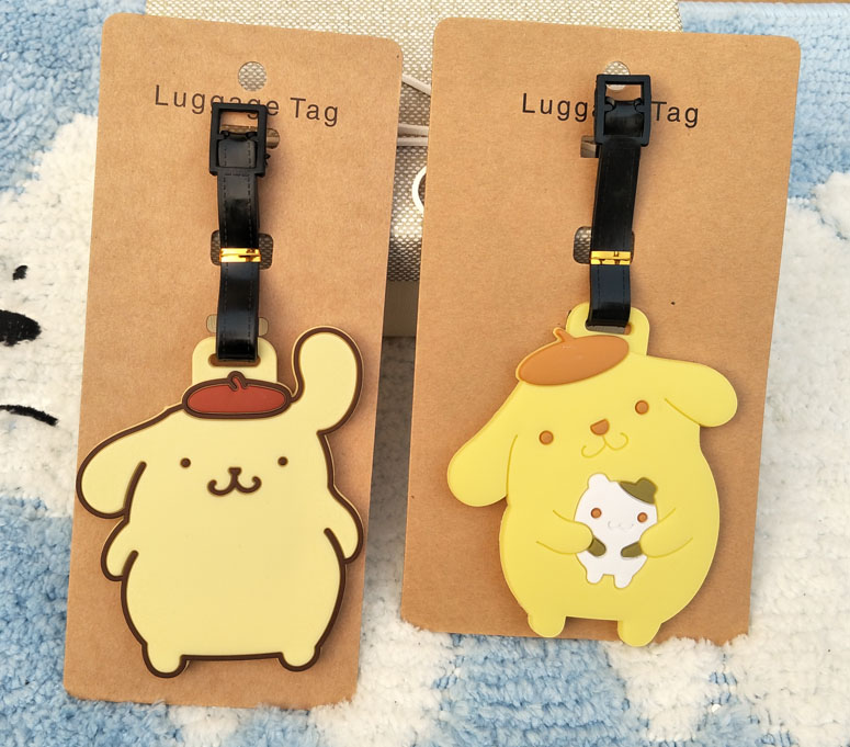 Figures Ornaments-Tags Decorative-Suitcase Purin Action-Q Anime Cartoon Toy Pompom Luggage