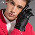 Gours Winter Genuine Leather Gloves Men Black Goatskin Driving Finger Gloves 2016 New Arrival Fashion Brand Mittens Warm GSM030