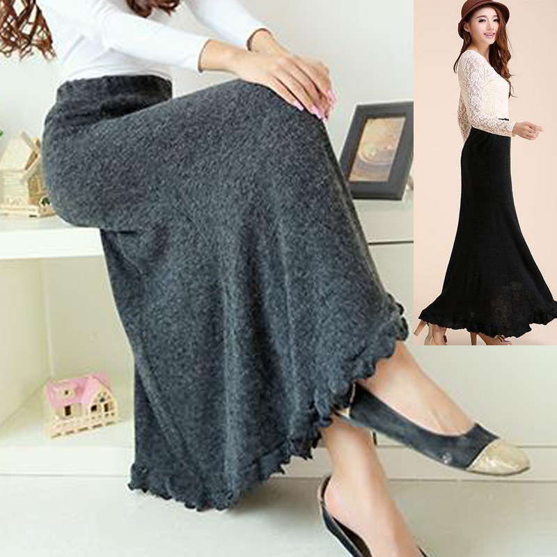Long Black Knit Skirt - Dress Ala