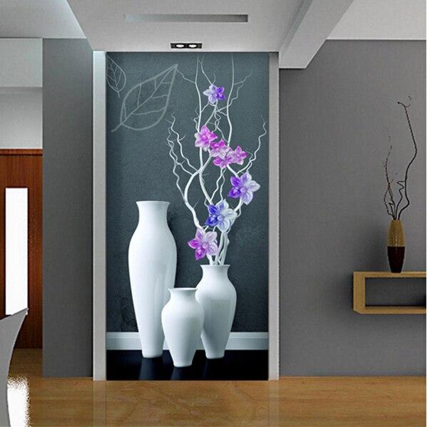 Papier Peint Entrée Couloir fleur vase couloir mur photo murale papier peint entrée 3d floral
