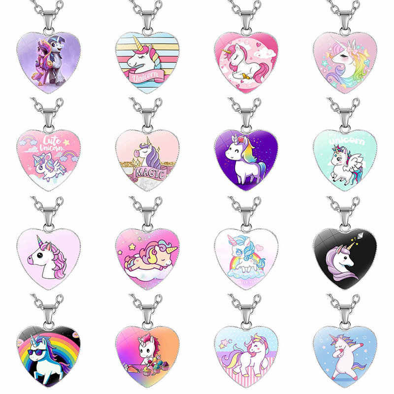 Cute Unicorn Heart-shaped Necklace Dreamy Unicorn Heart-shaped Pendant For Girls Kids Great Gifts