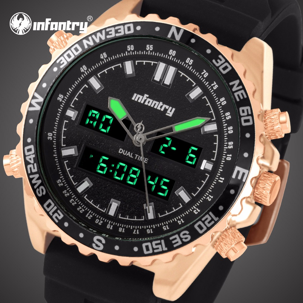 INFANTRY Mens Watches Top Brand Luxury Analog Digital Military Watch Men Big Police Watches for Men Rose Gold Relogio Masculino елканова т практикум по молекулярной физике учебное пособие