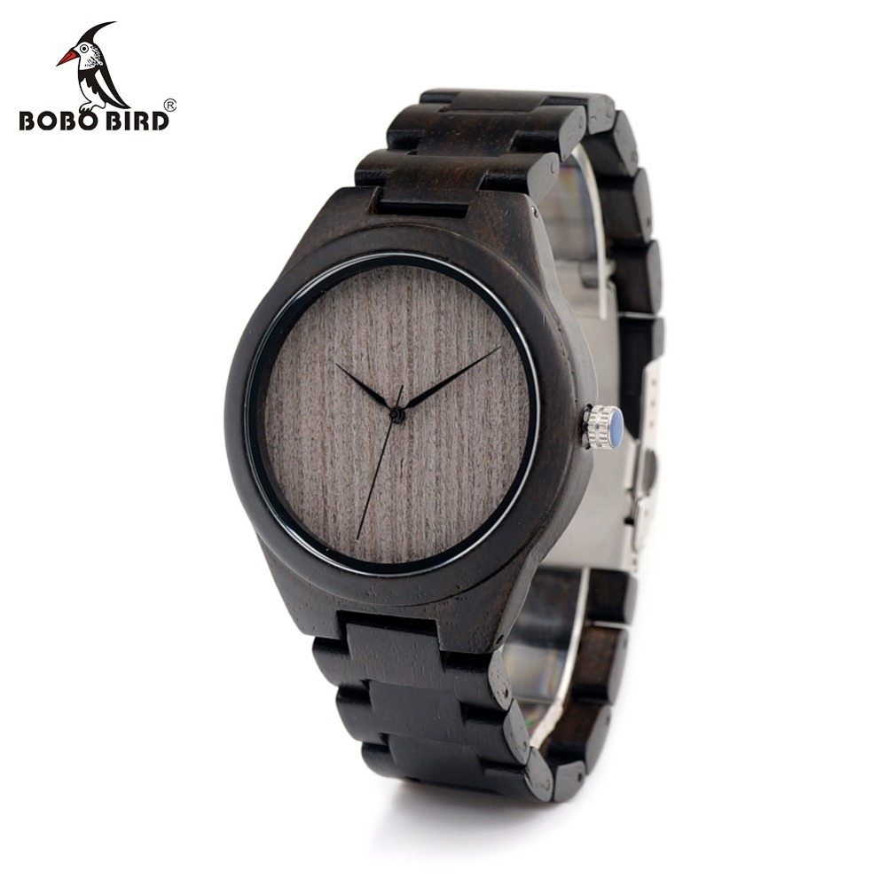 BOBO BIRD CdH06 Ebony Wooden Watches Men Handmade Simple Design Grey Dial without Scale Watches with Wooden Band as Gifts