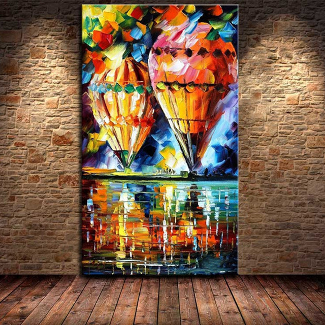 Modern Abstract Colorful Fire Balloon Oil Painting on