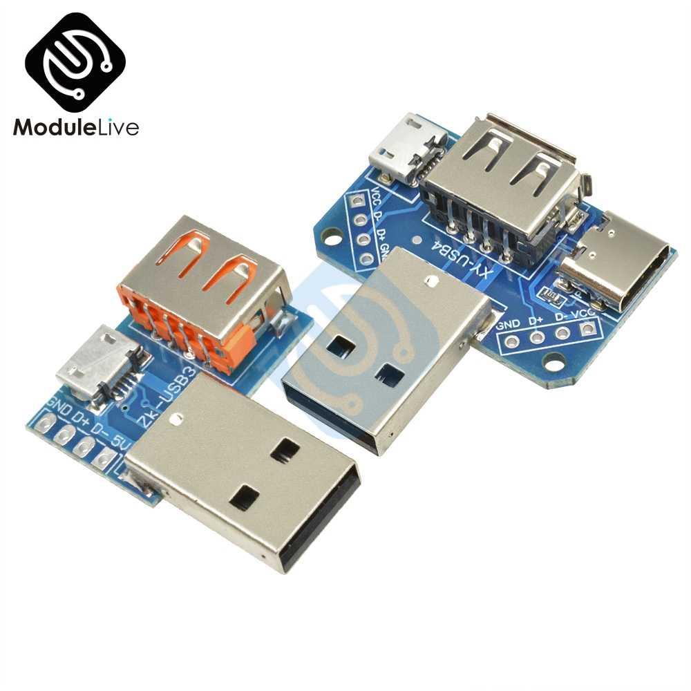 2.54 millimetri 2.54 millimetri Convertitore USB Femmina USB Standard a Maschio a Micro USB per Tipo-C 4P 4 Spilli Terminale Scheda Adattatore PCB Board