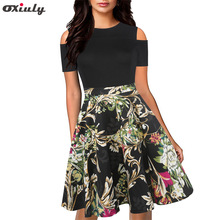 Oxiuly Women Summer Patchwork Print Dress Sleeveless Sundress Boho Bohemian Beach Ladies Robe Femme