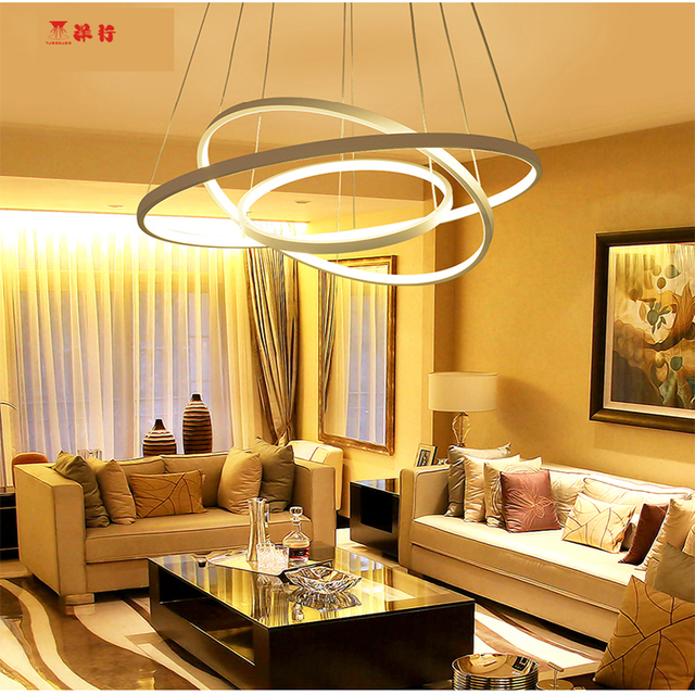 Modern Acrylic Chandelier Led Circle Rings Hanging Pendant Lights For Living Room Re