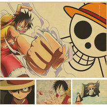 one piece Home Decor Wall Stickers Vintage Paper Anime Poster One Piece Posters Luffy Wanted