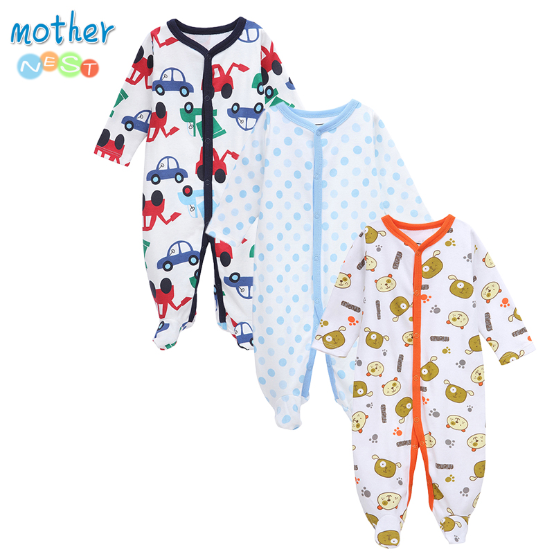 Mother nest 3PCS/LOT Baby Clothes Newborn Girls Boys Rompers Toddler Cotton Infant Winter Jumpsuit Kids Coveralls Soft Clothing newborn baby girls rompers 100% cotton long sleeve angel wings leisure body suit clothing toddler jumpsuit infant boys clothes