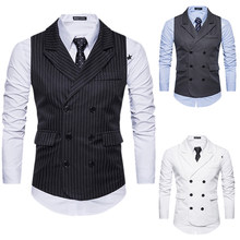 Male Wedding Suit Vests Dress Suit Vest Male England Style Casual Vests vests Casual Double Breasted Shujin 2018 44(China)