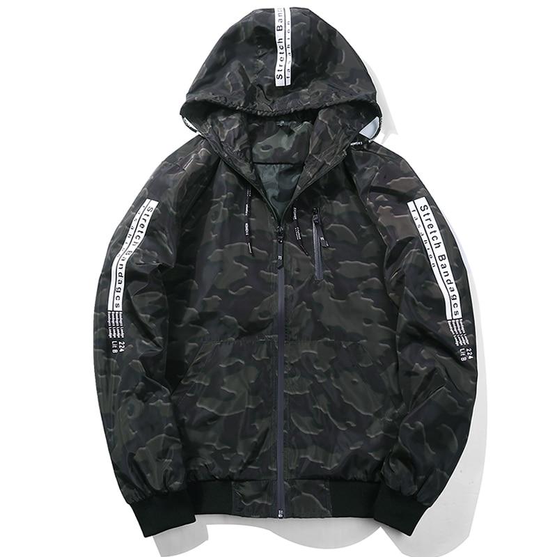 New 2018 Camouflage Bomber Jacket Men Casual Slim Fit Pilot Bomber Jacket Coat Fashion Mens Hooded Jackets Plus Size M-5XL