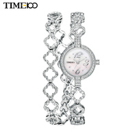 New TIME100 Women's Quartz Watches Free Bracelet Round Dial Diamond Jewelry Alloy Strap Ladies Bracelet Watches Reloj Mujer