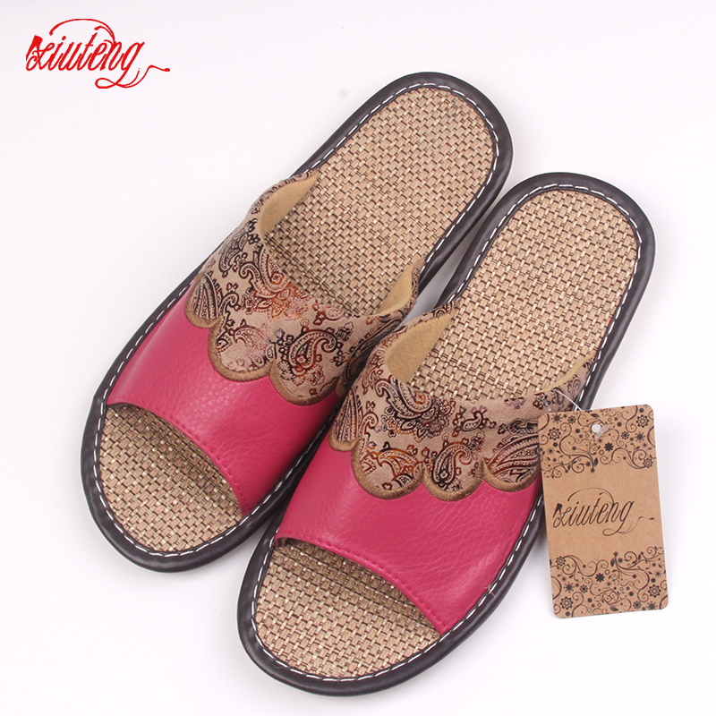 Hot Sales 2016 Summer/Autumn Genuine Cowhide Leather Women House Slippers Flat Flax Shoes Indoor Feminina Sandals Slippe 3 Color