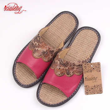Xiuteng 2018 Summer/Autumn Genuine Cowhide Leather Women House Slippers Flat Flax Shoes Indoor Feminina Sandals Slippe 3 Color - DISCOUNT ITEM  40% OFF All Category
