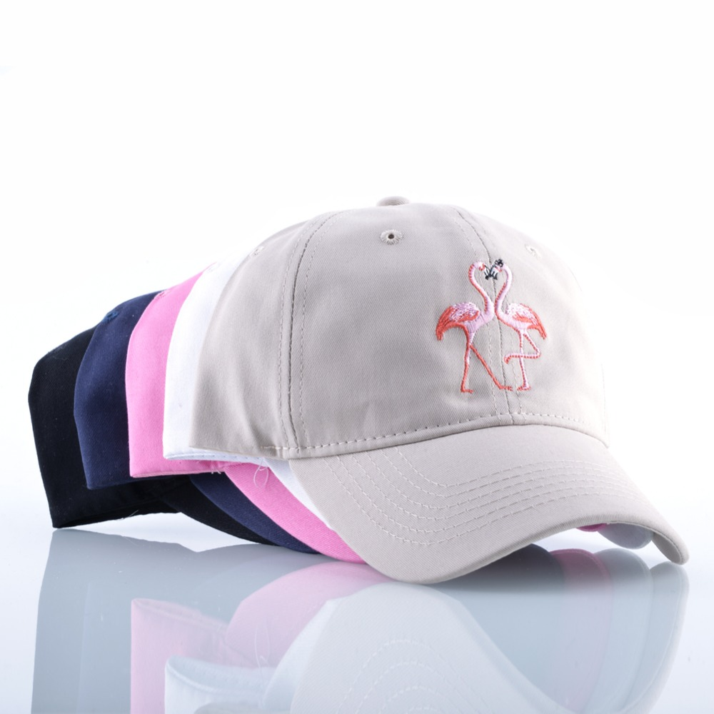 New Fashion Unisex Snapback Sun Hat Flamingoe Embroidery Cotton Baseball Caps Women Men Solid Color Dad Hats Casquette Homme