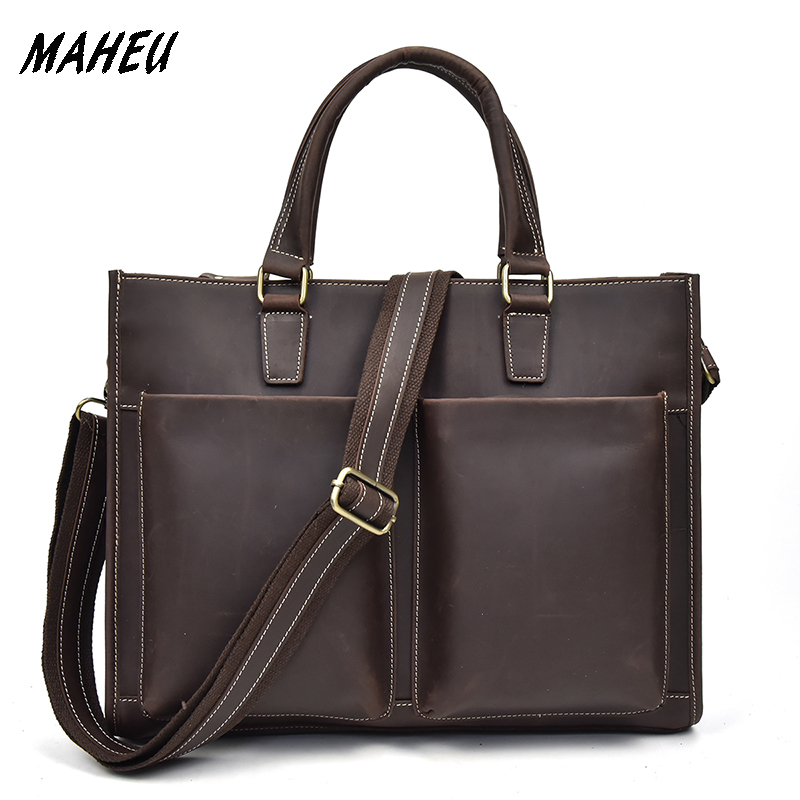 MAHEU Crazy Horse Genuine Leather Briefcase Men Laptop Bags Top Grade Men Office Tote Bag Cow