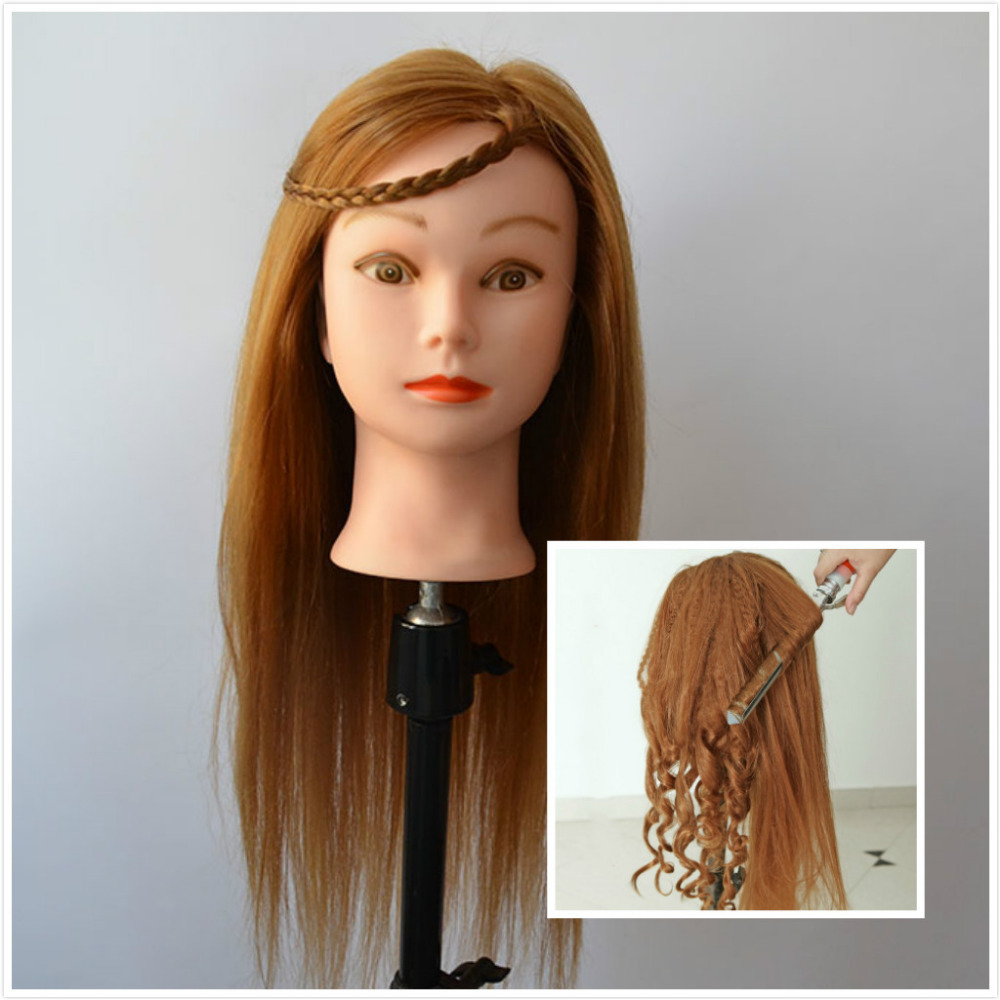 us $82.37 |wholesale 22 inch mannequin head with hair professional hairdressing training head for curl iron hairstyle dummy-in mannequins from home &