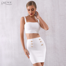 ADYCE 2019 New Summer Bodycon Bandage Sets 2 Two Pieces Set Top&Skirts Vestidos Black White Celebrity Evening Party Dress Women