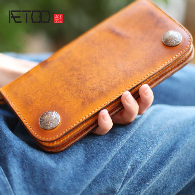 AETOO Original hand-made vegetable tanned leather long section retro art wallet large-capacity leather yellow Vintage wallet zuoyi crocodile leather original zipper snap multifunctional in large capacity and long wallet