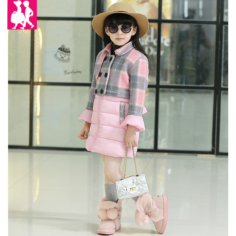 Fashion 2018 Winter Girls Clothes Plaid Double Breasted Child Girls Jackets Children Kids Clothing Cotton-padded Outerwear Coats teenage girls winter fleece long coats and jackets kids double breasted warm padded cotton solid jacket girl children clothing