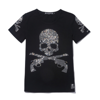 MMJ mastermind japan hot flash diamond drilling gun skull o neck short sleeve cotton t shirt tee white and black color