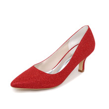 Sparkle pointed toe woman low medium heel classic pumps glitter 6cm heel shoes blue red black silver gold party dress shoes
